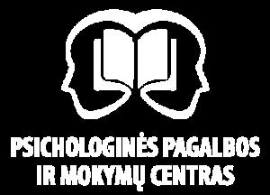 Psichologinės pagalbos ir mokymų centro baltas logotipas